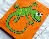 Lime Green LIZARD on vibrant orange background (ready to ship or custom made)
