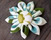 Olive and Aqua Fabric Flower Hair Clip
