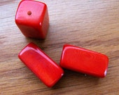 Five Red Tagua Nut Beads, 30mm Rectangle Beads, Chunky Beads, EcoBeads, Natural Beads, Organic Beads, Vegetable Ivory Beads