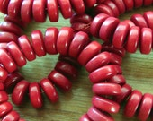 25 Red Tagua Nut Beads, Rondelles, Flat Donuts, 8mm Beads, Organic Beads, Vegetable Ivory Beads, Natural Beads, EcoBeads