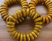 25 Amber Tagua Nut Beads, Rondells, Flat Donuts, 11mm Beads, Organic Beads, Natural Beads, Vegetable Ivory Beads, EcoBeads
