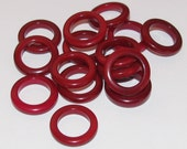 10 Red Tagua Nut Beads, 15mm Thin Rings, EcoBeads, Natural Beads, Organic Beads, Vegetable Ivory Beads