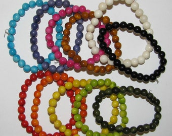 25 Light Fuschia Pink Tagua Beads, 7mm Round Beads, Organic Beads, Vegetable Ivory Beads, Natural Beads, EcoBeads