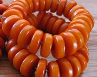 25 Orange Tagua Nut Beads, Rondells, Flat Donuts, 8mm Beads, Organic Beads, Vegetable Ivory Beads, Natural Beads, EcoBeads