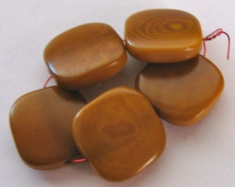 5 Light Amber Tagua Nut Beads, 15mm Flat Square Beads, Organic Beads, Natural Beads, Vegetable Ivory Beads, EcoBeads