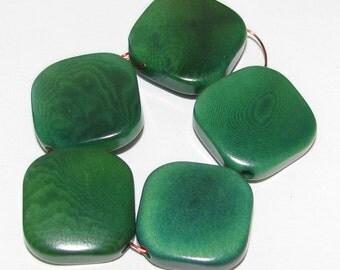10 Malachite Green Tagua Nut Beads, Flat Diagonal Square Beads, 12mm Beads, Organic Beads, Vegetable Ivory Beads, Natural Beads, EcoBeads