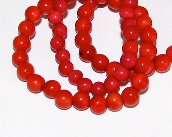 25 Red Tagua Nut Beads, 5mm Round Beads, EcoBeads, Natural Beads, Organic Beads, Vegetable Ivory Beads