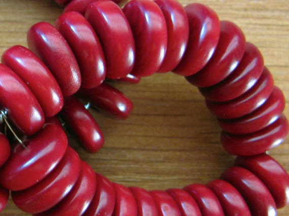 25 Red Tagua Nut Beads, 11mm Rondell Beads, FD, Organic Beads, Natural Beads, Vegetable Ivory Beads, EcoBeads