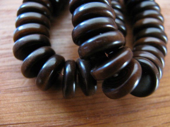 25 Brown Tagua Nut Beads, 11mm Rondell Beads, FD, EcoBeads, Natural Beads, Organic Beads, Vegetable Ivory Beads
