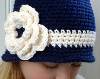 Brimmed hat for girl, cloche hat for girl, Cute navy blue brimmed beanie for girl