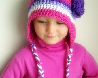 Hot pink cotton earflap hat with flower (any sizes)
