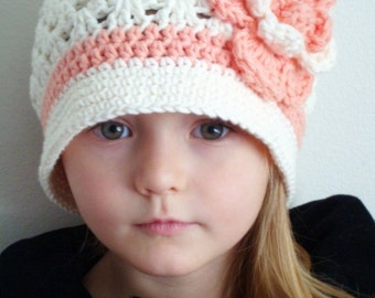 Soft Ecru Hat With Tea Rose Flower For Girl (any sizes)