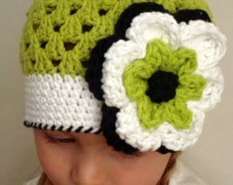 Apple green hat for girl (Any sizes)