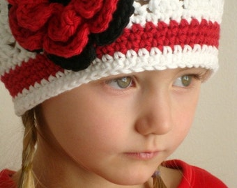 Crochet beanie hat with flower (Any sizes)