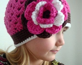 Crochet girl hat, hot pink beanie hat with flower for girl (Any sizes)