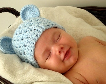 Teddy Bear Newborn Hat --- Baby blue color --- great photo prop/fall/winter hat