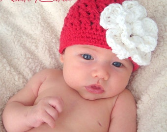 Red hat with white flower for girl (Any Sizes)
