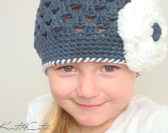 Charcoal hat with white flower for girl (any sizes)