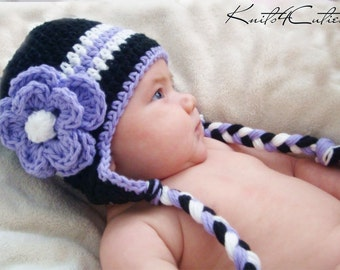 Crochet baby earflap hat, blacki with violet flower