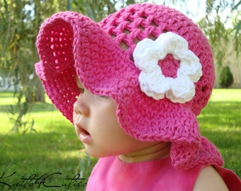 Baby girl summer hat, Adorable crocheted brimmed hot pink hat with white flower