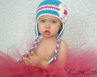 Mod blue with white  flower earflaps hat for girl