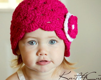 Hot pink scalloped baby hat for girl