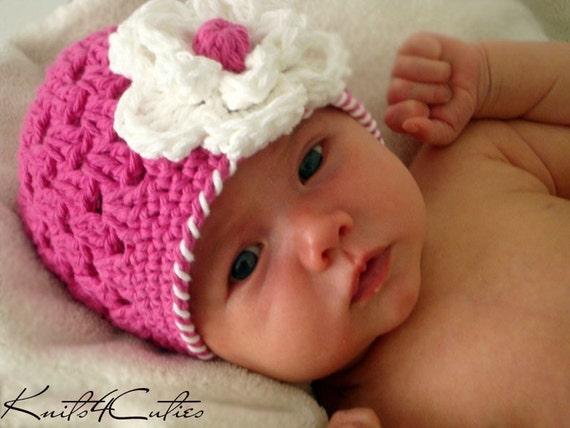 Newborn hat, crochet baby girl hat,Hot pink beanie hat with flower for girl (0-3 months)