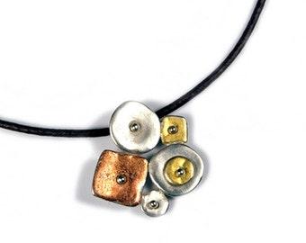 Tri Color Sterling Silver Pendant Necklace