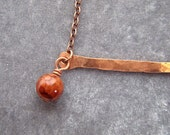 Crossbar copper and glass bead necklace