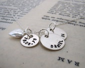 Teeny 4 - two names and wedding date sterling necklace