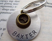 Pet ID Tag with bronze dog bowl custom name personalized