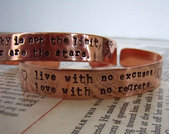 Copper Cuff Bracelet - Quote Cuff - Custom Quote Bracelet - Layering Cuff - Stacking Bracelet - wide