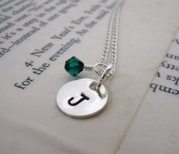 Teeny 2 - sterling initial name handstamped with crystal necklace