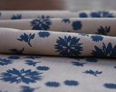 Hand Screen Printed Fabric - Floral Seeds (Sml) in Indigo on Hessian