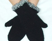 Mittens Black Handmade Ribbed with Grey Boucle Edges