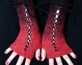 Fingerless Gloves Knit Woolen Corset in Black and Red with Suede Ribbons Victorian Style