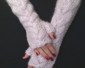 Fingerless Gloves Hand knit Wrist Warmers Light pale Pink Cabled , Extra Soft, Long and Warm