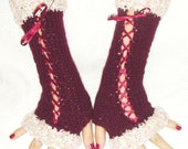 Fingerless Gloves Burgundy/ Dark Red Corset Wrist Warmers with Satin Ribbons Victorian Style