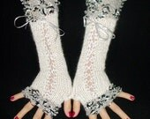 Fingerless Gloves Luxury  White Silky Mohair Corset with Silver Black edges and Lurex Ribbons  Victorian Style