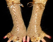 Fingerless Gloves Long Luxury Light Brown Silky Mohair Corset with Golden Black edges and Satin Ribbons  Victorian Style