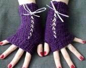 Corset Wrist Warmers Fingerless Gloves Handknit in Purple Violet Eggplant Victorian Style