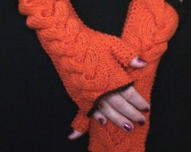 Fingerless Gloves Knit Cabled  Wrist Warmers Orange Pumpkin Extra Soft with Brown Edges