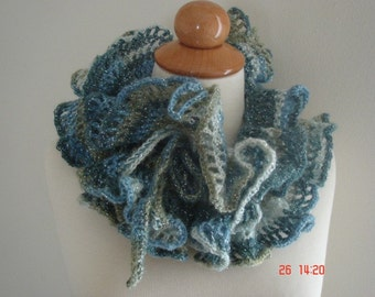 Ruffled Neckwarmer Cowl Handmade Blue White Khaki Sale