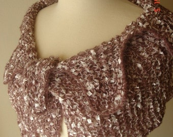 Knit Wrap / Capelet Rose Brown and Pale Pink SALE