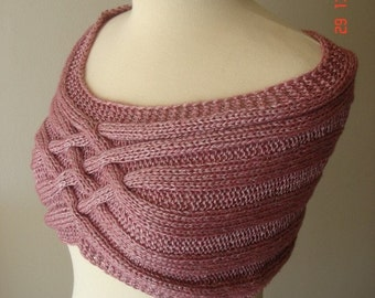 Capelet Shoulder  Warmer Elegant Extremely Soft Cabled Pink , Hand Knitted