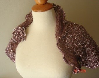 Shrug Rose Brown Light and Elegant  with White and Pale Pink Knots