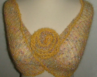 Wrap Yellow Luxury Moebius with a Flower in Kidmohair SALE