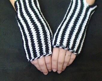 Wrist Warmers Fingerless Gloves HandKnit Black and White Ribbed Fingerless Gloves Sale