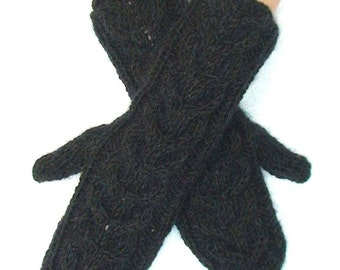 Mittens Long Cabled Gloves in Dark Green