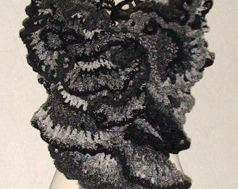 Scarf Chunky  Huge Oversize Ruffled in Black Grey White Shades Sale